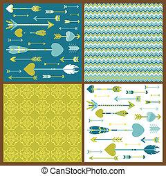Set of Love Arrows Background - for design or scrapbook - in...