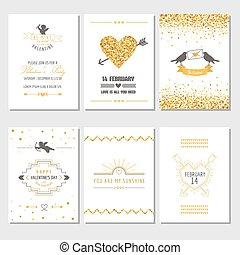 Set of Love Cards - Wedding, Valentine's Day, Invitation - in vector
