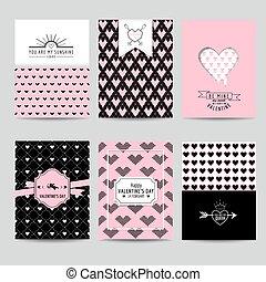 Set of Love Cards - Wedding, Valentine's Day, Invitation - in vector