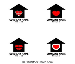 Set of Love House Logo Design Template