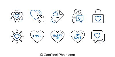 Set of Love icons, such as Love letter, Dating chat, Hold heart. Vector