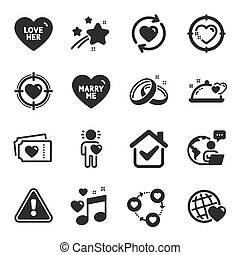 Set of Love icons, such as Love music, Love tickets, Friend symbols. Vector