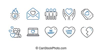 Set of Love icons, such as Love ticket, Be sweet, Love letter. Vector