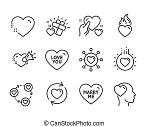 Set of Love icons, such as Love you, Heart, Love message. Vector