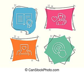 Love mail, Diploma and Man love icons. Click sign. Valentine letter, Document with badge, Romantic people.