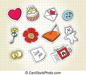 Set of love symbols on paper