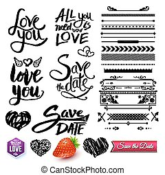 Set of Love Texts, Borders and Symbols on White - Set of...