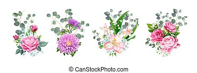 Set of lovely bouquets - Set of vector bouquets. Blooming ...
