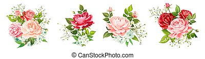Set of lovely bouquets - Set of vector floral bouquets. ...