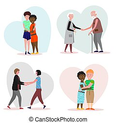 Set of loving couples on a background with hearts. Valentine Day template. Man and woman holding hands. Two girls embrace and holding hands