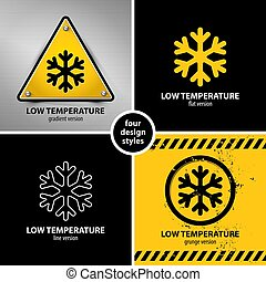 set of low temperature warning symbols