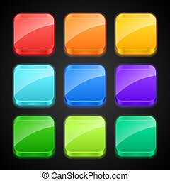 Set of luminous color apps icons.