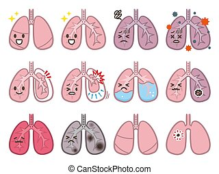 Set of lung disease illustrations