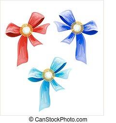 set of luxury bows with diamonds