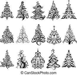 Set of Luxury Christmas Trees.