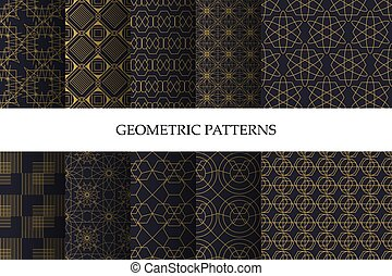 Set of luxury dark geometric pattern