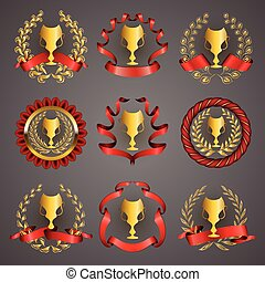 Set of luxury gold cups
