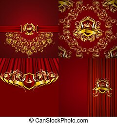 Set of luxury ornate backgrounds in vintage style. Elegant...
