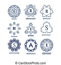 Set of luxury, simple and elegant blue monogram design templates