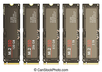 Set of M2 SSD, 3D rendering