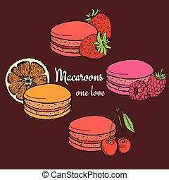 Set of macaroons with fruits