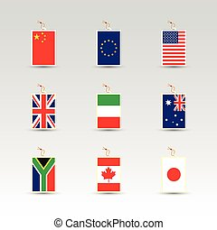 set of made in labels with national flag of china, eu, uk, usa, italy, australia, south africa, canada and japan