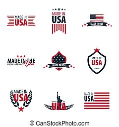 Set of Made in USA labels and badges on white background. -...