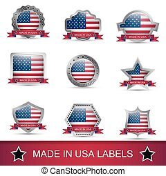 Set of made in USA labels or badges