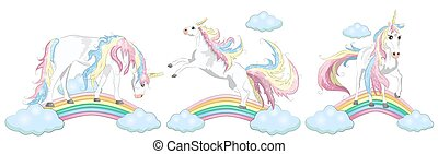 Magic cute unicorn, walking on the rainbow, doodle nursery art