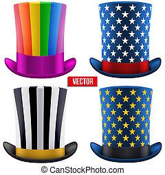 Set of magic hats cylinder. Vector Illustration
