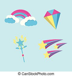 Set of Magic icon. Fantasy World of the Unicorn. Cartoon style. Vector Illustration