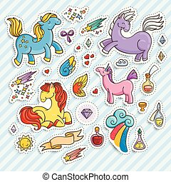 Set of magic stickers with unicorns, wings and potions.