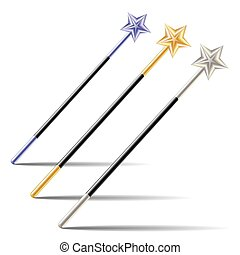 Set of Magic Wands with stars
