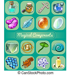 Set of magical items. Sketch for holiday stickers, cards or...