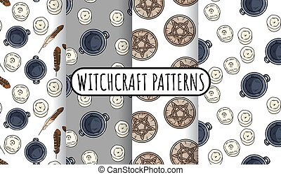 Set of magical witchcraft seamless border patterns. Comic style doodles of cauldrons, candles, quartz crystals hand drawn background tiles collection