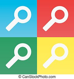 Set of magnifying glass icons with different colors
