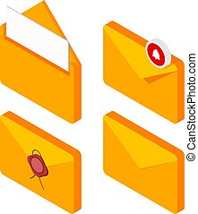 Set of mail envelopes in isometric style on a white background. Collection of yellow mailing sing. Vector illustration