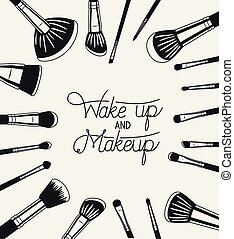 set of make up brushes accessories around vector ...