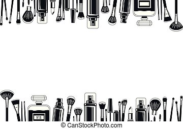 set of make up brushes and products frame vector ...