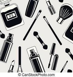 set of make up brushes and products pattern vector ...