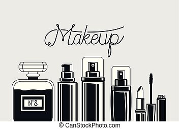 set of make up brushes and products vector illustration ...