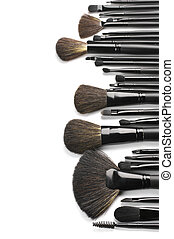 Set of make-up brushes - Set of black make-up brushes in row...
