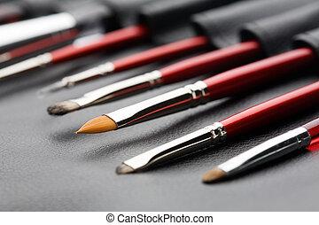 Set of make-up brushes