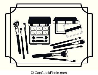 set of make up products frame