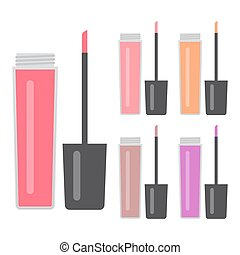 Set of makeup items. Five bright lip gloss. Vector illustration.