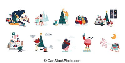 Set of Male and Female Characters Prepare for Christmas and New Year Holidays Celebration Happy Family Decorate Fir Tree