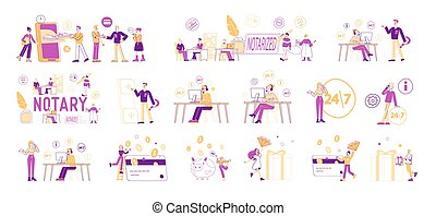 Set of Male and Female Characters Visiting Notary Office for...
