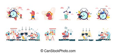 Set of Male and Female Characters with Clock, Concept of Time, Leisure, Working Activity or Procrastination. People Programers Developing Software in Coworking Office. Cartoon Vector Illustration