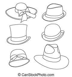 male and female hats