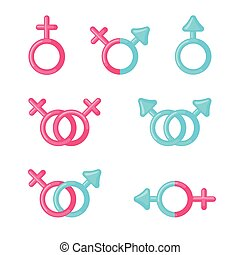 Set of Male and female sign icons.